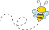 Clipart of a flying bee